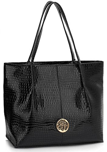Bag Snake Large 1 Shoulder New Design Handbag Skin Black Zip Women Top Designer Ladies Best Effect Office College For n8TxqfwWdd