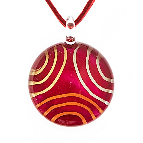 19' Pendant (Hand Blown Venetian Murano Glass Maroon Red Curl Pattern Round Pendant Necklace, 18-20'')