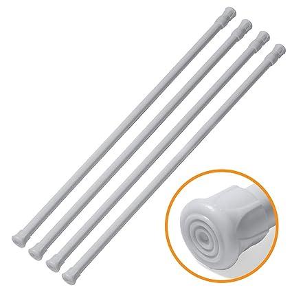 Joseche - Juego de 4 barras de resorte ajustables para armario, barra de frigorífico blanca extensible para proyectos de bricolaje, de 21,59 a 111,92 ...