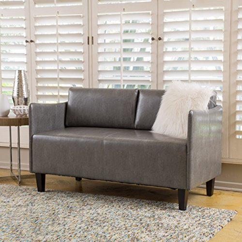 Nile Grey Bonded Leather Loveseat