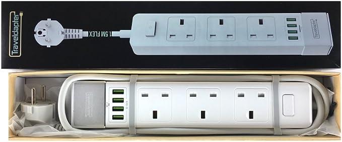 Adaptador de Viaje Pakistán Multi alargador enchufe de 3 pines de Reino Unido sockets 2 x puertos USB 5 V 2.1 A cargador rápido para tablets enchufe Schuko tipo F (1,5 m,