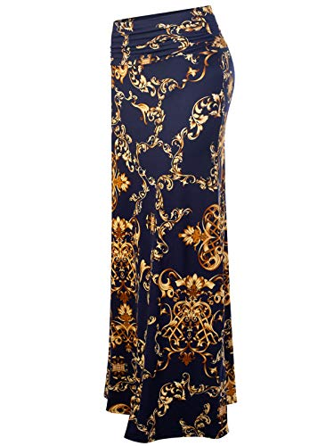 MixMatchy Women's [Made in USA] Basic Foldable High Waist Regular and Plus Size Maxi Skirts DMK Navy Print L