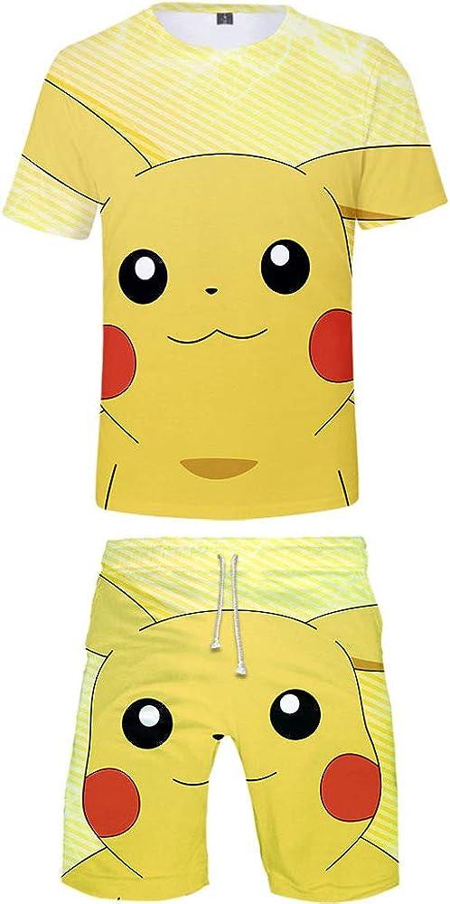 ZZBM Pikachu Bambini Ragazzi Estate Completo 2 Pezzi Set Pantaloncini Corto T-Shirt Manica Corta Casual