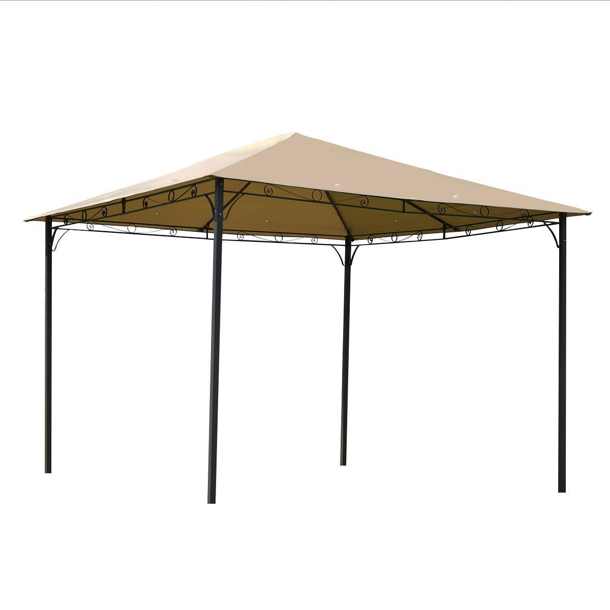 Outdoor 10'x10' Square Gazebo Canopy Tent Shelter Awning Garden Patio Tan + FREE E-Book