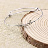 Yiyang Name Bangle for Teen Girls Personalized Name Bracelets Jewelry Gift for Friends Women Name