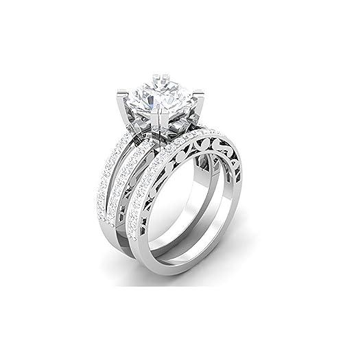 Mejor compromiso anillos de boda en cristal circonita blanco de 3,50 quilates de corte