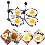 Fried Egg Shaper Mold, Vangoddy Stainless Steel Egg Mould Cooking Kitchen Tools for Kids and Lovers (4 Pack (Round, Star, Heart, Flower))