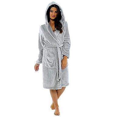 ZYUEER Peignoir Femme Polyester Robe de Chambre Chaud Long Peignoir ...