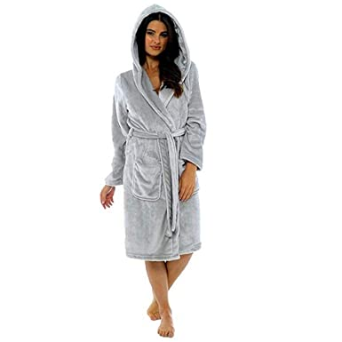 ZYUEER Peignoir Femme Polyester Robe de Chambre Chaud Long Peignoir de Bain  Hiver Longue Pas Cher e21ce43fb0d4