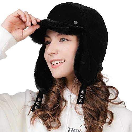 Winter Trapper Hat for Women Baseball Cap with Earflap Elmer Fudd Hat Fur Hunting Snow Cold Weather Ladies Corduroy Black