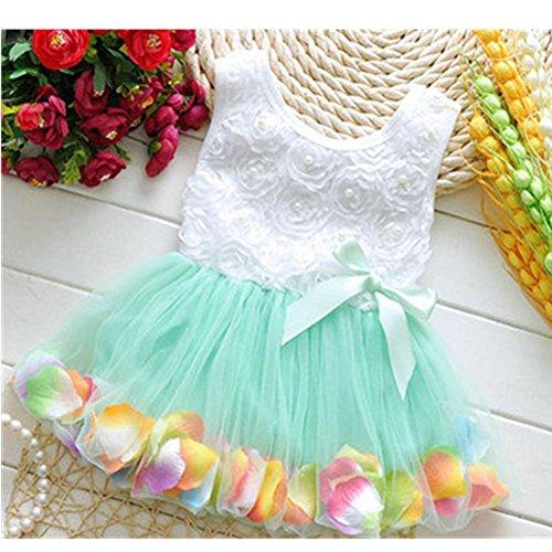 KAKA(TM Summer Lovely Baby Girls Green Muslin Lace Floral Bowknot Dresses Princess Skirt