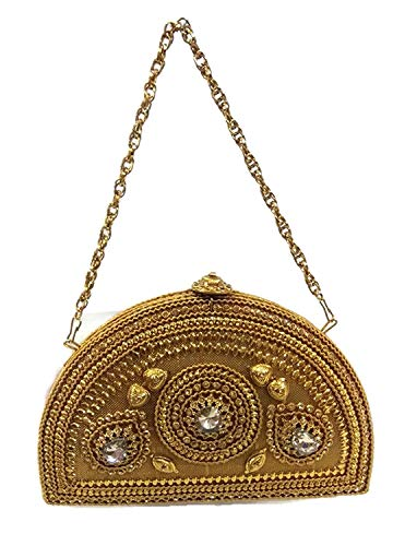 bridal handbag crystal marriage rhinestone moon royal bag party gold Half clutch Szx4wp