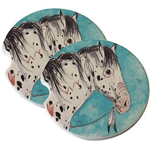 (Natural Sandstone Car Drink Coasters (set of 2) - Black Leopard Appaloosa Indian War Pony Horse Art by Denise Every)