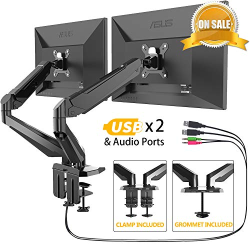 Dual Monitor Stand - FEZIBO Adjustable Full Motion Monitor Mount Monitor Arm, C Clamp/Grommet Mount for 2 Screens from 17 to 29 Gas Spring LCD Computer Screens