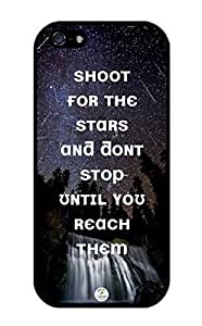 iZERCASE iPhone 5, iPhone 5S Case Motivational Quote Shoot for the Stars RUBBER CASE - Fits iPhone 5, iPhone 5S T-Mobile, Verizon, AT&T, Sprint and International