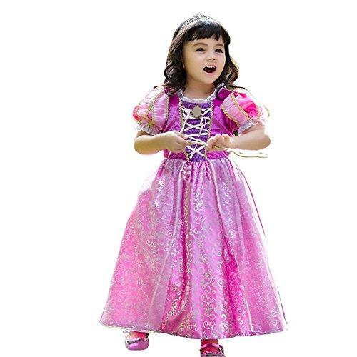 [EITC Girls Princess Dress Costume Deluxe Chiffon Long Dress Party Wear(2-7Y)] (Flower Fairy Costume Ideas)