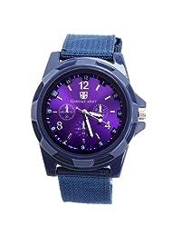 YESURPRISE Fashion Army Cross-shaped Dial Quartz Wrist Watch Fabric cloth Strap Unisex Men Blue