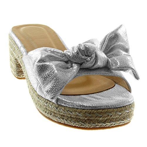 Angkorly Damen Schuhe Sandalen Mule - Slip-on - Plateauschuhe - Knoten - Seil - Glänzende Blockabsatz High Heel 5.5 cm Silber