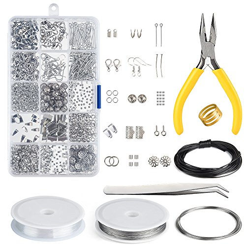 KUUQA Jewelry Making Kit Jewelry Findings Starter Kit Jewelry Beading Making and Repair Tools Kit Clasp Jewelry Part
