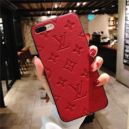cruisertourism New Elegant Luxury Phone case for iPhone 7 Plus/8 Plus Case, Sumptuous Elegant Imprinted Leather Designer Momgram Pattern Protective Case Red, US Fast Deliver Guarantee