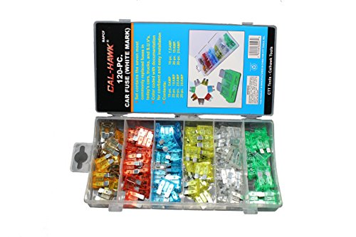 Cal-Hawk BAPCF White-Marked Assorted Car Truck Fuse 5, 7.5, 10, 15, 20, 25, 30 Amp (Easy-To-Read)