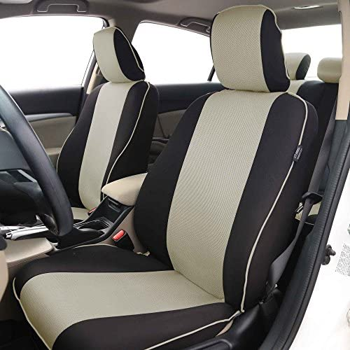 FH-FB063102 Cloth Car Seat Covers with Piping Front Set Beige