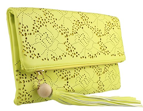 Girly HandBags Laser Clutch Yellow HandBags Girly Bag Folded Cut rFwUFq