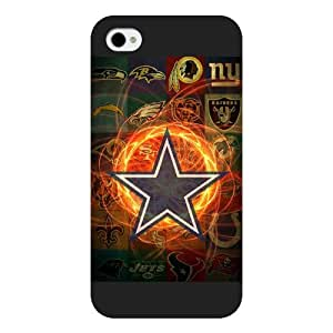 Onelee Customized NFL Series Case for iPhone 4 4S, NFL Team Dallas Cowboys Logo iPhone 4 4S Case, Only Fit for Apple iPhone 4 4S (Black Frosted Shell) by runtopwell