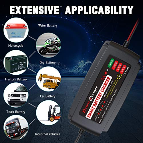 BMK 12V 5A Smart Battery Charger Portable Battery Maintainer with Detachable Alligator Rings Clips Fast Charging Trickle Charger for Car Boat Lawn Mower Marine Sealed Lead Acid Battery