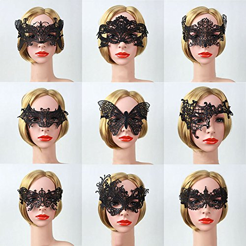 Vpang 9 Pieces Sexy Lace Masquerade Mask Eye Mask Venetian Party Mask for Halloween Masquerade Carnival Party Costume Ball ()