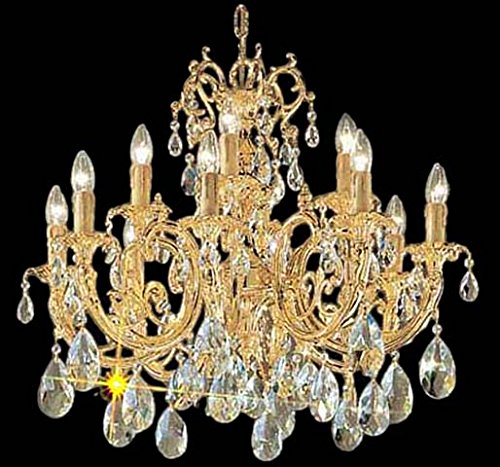 Classic Lighting 5712 G C Princeton, Crystal Cast Brass, Chandelier, 24k Gold Plate ()