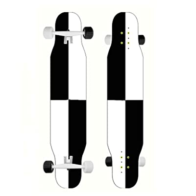 Skateboards Longboard Cruiser Skateboard Deck Complete Black and White Wind 9.8-Inch X 46.0-Inch : Sports & Outdoors
