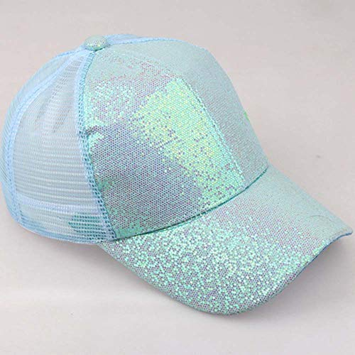 HTDBKDBK Hat for Women Girl Ponytail Baseball Cap Sequins Shiny Messy Bun Snapback Hat Sun Caps Blue by HTDBKDBK (Image #1)