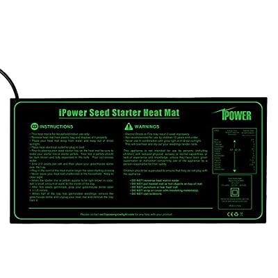 iPower 10″ x 20.5″ Small Warm Hydroponic Seedling Heat Mat and 68-108°F Digital Thermostat Control Combo Set for Seed Germination