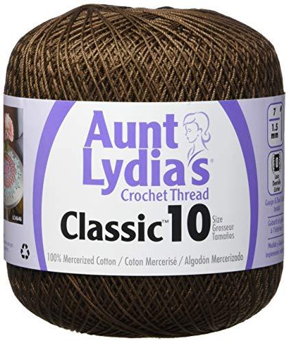(Coats Crochet 154-131 Aunt Lydia's Crochet, Cotton Classic Size 10, Fudge Brown )