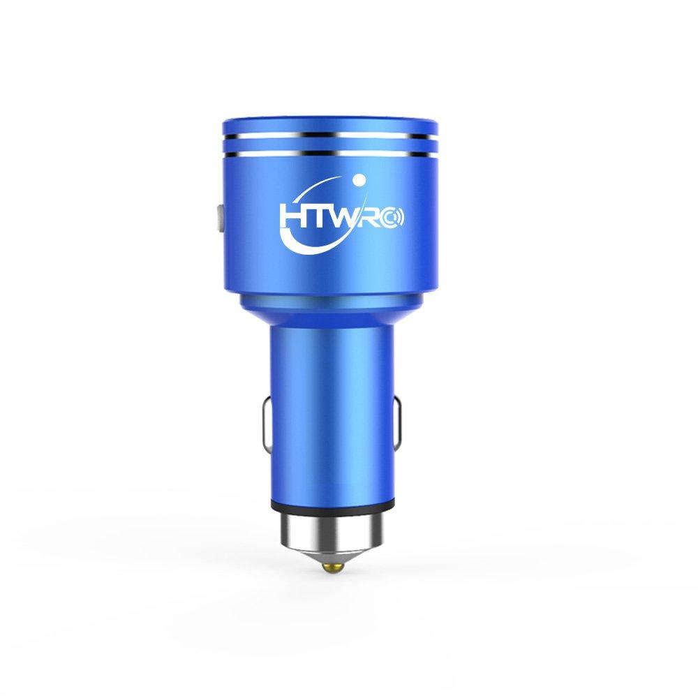 htwro Bluetooth FMトランスミッター、ワイヤレスBluetoothカーFMラジオアダプタハンズフリー通話、カーキットデュアルUSBポート充電器5 V / 3.1 a for iPhone B0752BKFXF