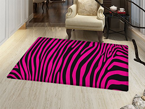 - smallbeefly Pink Zebra Bath Mats Carpet Stylish African Animal Wilderness Pattern Jungle Mammal Fashion Boho Graphic Floor Mat Pattern Hot Pink Black