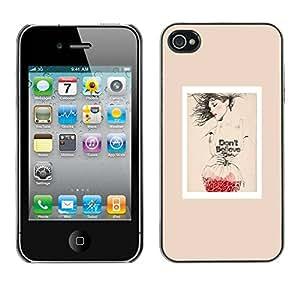 Paccase / SLIM PC / Aliminium Casa Carcasa Funda Case Cover - Poster Fashion Red Love Art Beige - Apple Iphone 4 / 4S