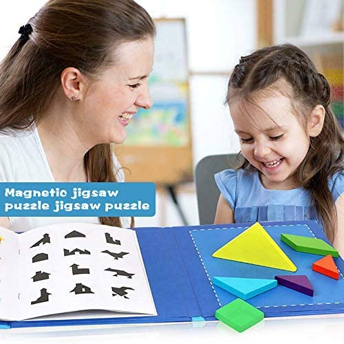 Travel Game Magnetic Jigsaw Puzzle Kit Montessori Educational Kids Toys Gift