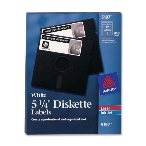 Avery Diskette Label - Avery 5 1/4 Diskette Labels White for Laser Printer (5197)
