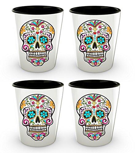 Day of the Dead Shot Glasses - Sugar Skull Shot Glass - Mexican Folk Art - Dia De Los Muertos - Cute Shot Glasses - Novelty Shotglass - 1.5 oz (4) by HollyWood & Twine
