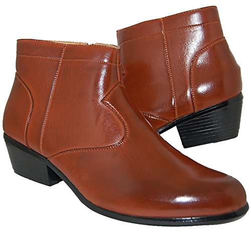 Krazy Shoe Artists Mens 2 Inch High Cuban Heel Ankle High Boots (10D US) Brown