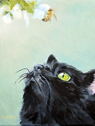 Black Cat and Bee Fine Art Print from Original Oil Painting, signed by Artist, 8