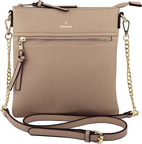 Vegan Double-Zipper Crossbody Bag with Chain Strap (Taupe)