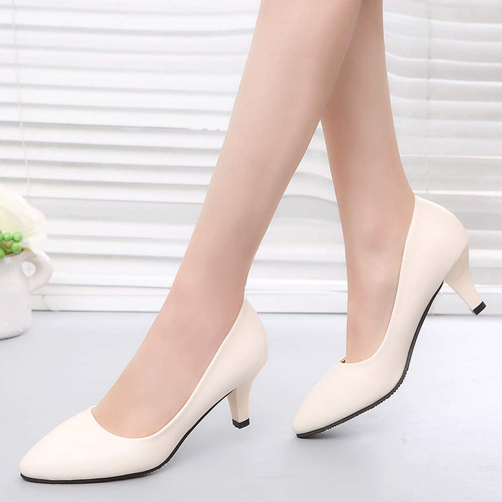 TONMOON Womens Closed Pointed Toe Pumps High Heels Office Lady Wedding Party Dress Heeded Shoes