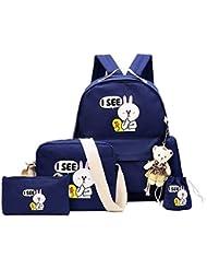 Weilong Teens School Backpack Set Canvas Girls School Bags, Bookbags Set of 4