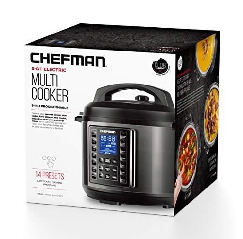 Chefman Qt Multicooker 9-in-1 Programmable 14 Rice Sauté, Soup/Broth Digital 6 Quart