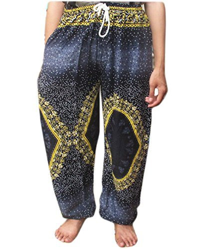 HITHOT INDIAN PATTREN PRINTED GENUINE FINE COTTON RAYON FISHERMAN YOKA PANTS HIPPIE BAGGY TROUSERS FREE SIZE FIT FOR 25 - 35 INCHES ADJUSTABLE LENGTH 45 INCHES by HitHot