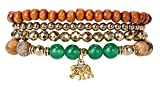 SPUNKYsoul Good Luck Elephant Stretch Bracelet Stack for Women Collection (Jasper, Green Aventurine & Hematite)