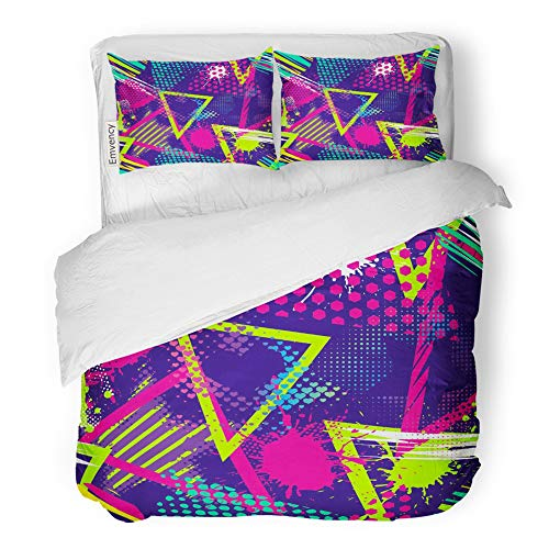 Emvency 3 Piece Duvet Cover Set Brushed Microfiber Fabric Breathable Abstract Chaotic Pattern with Urban Geometric Modern Grunge for Boys and Girls Bedding Set with 2 Pillow Covers King Size -